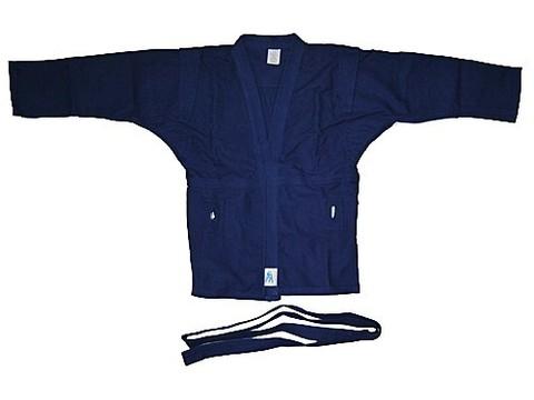 Куртка для самбо. Цвет синий. Размер 32. Состав: 100% хлопок, плотность 550гр./кв.м