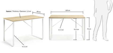 Письменный стол Lisbet 120x60 металл белый