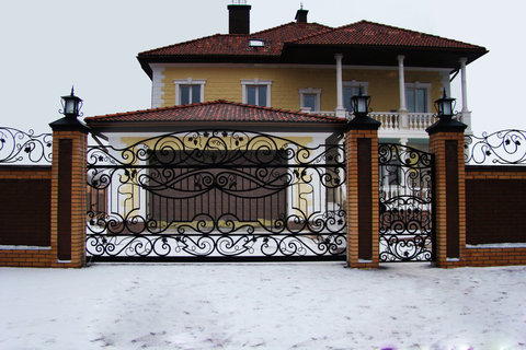 Кованые откатные ворота N-3