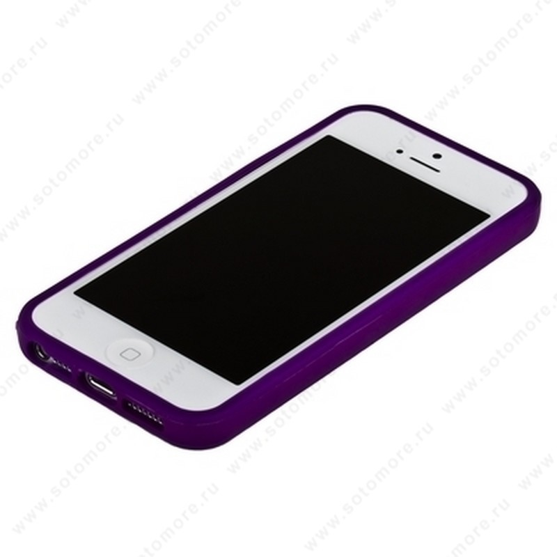 Бампер для iPhone SE/ 5s/ 5C/ 5 фиолетовый с фиолетовой полосой