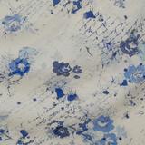 Набивная льняная ткань с цветами в оттенках синего