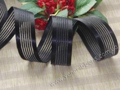 Лента органза с атласными полосками черная ширина 25 мм