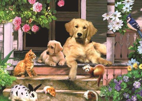 Алмазная Мозаика 20x30 Домашние животные на лестнице