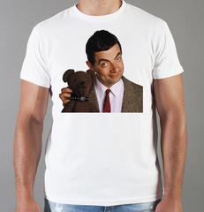 Футболка с принтом Мистер Бин (Mr. Bean, Роуэн Аткинсон) белая 0017