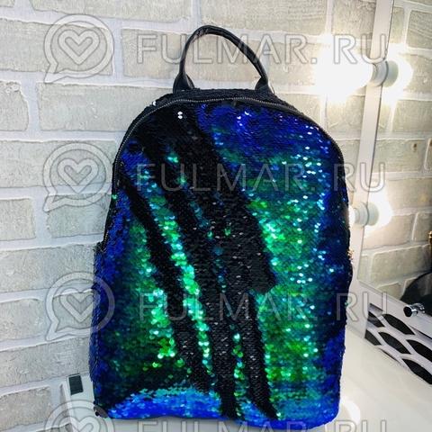 Рюкзак детский с пайетками меняющий цвет Зелёный с синим-Чёрный Большой 37х30х12 см и брелок дельфин