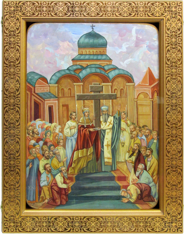Живописная икона Воздвижение Святого Креста Господня 42х29см на кипарисе в березовом киоте