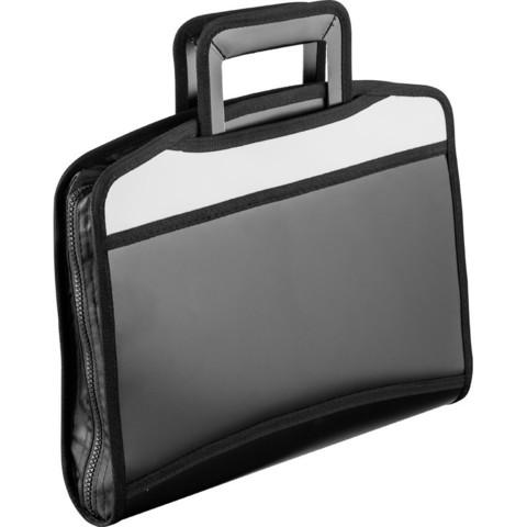 Папка-портфель Attache пластиковая А4+ черная/серая (275x350 мм, 5 отделений, выдвижные ручки)