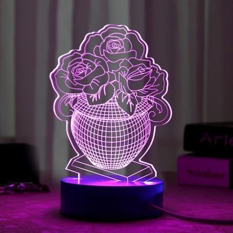 ветильники 3D Ваза с цветами