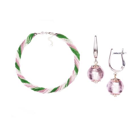 Комплект украшений розово-зеленый №2 (серьги-бусины, ожерелье из бисера 24 нити)