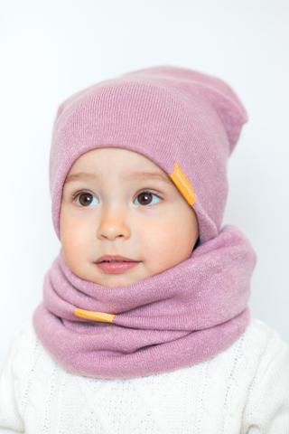 детская шапка из турецкой шерсти пудрово-розовая