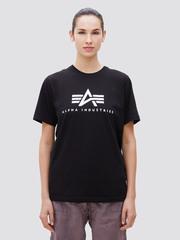 Футболка Alpha Industries Basic Logo Black Женская (Черная)