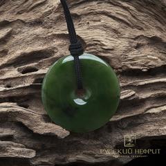 Диск Би из зелёного нефрита. Диаметр 45мм, толщина 4,5мм.