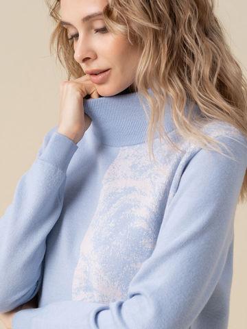 Женский свитер голубого цвета из кашемира и вискозы - фото 3