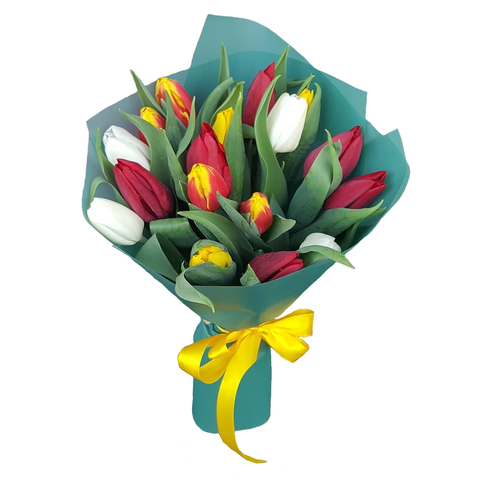 Букет из 17 микс тюльпанов 5