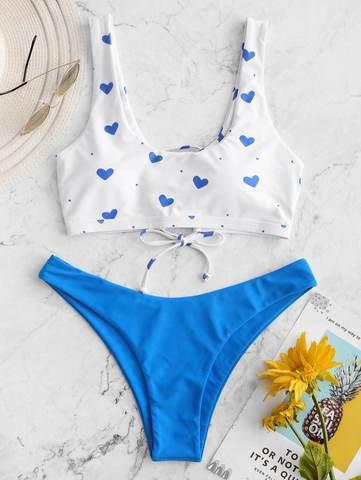 купальник раздельный с лямками голубой синий топ на шнуровке сзади белый сердце 1