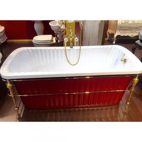 Ванна Migliore Olivia console 24268 174x80cm. акриловая отдельно стоящая, золотая консоль, красная
