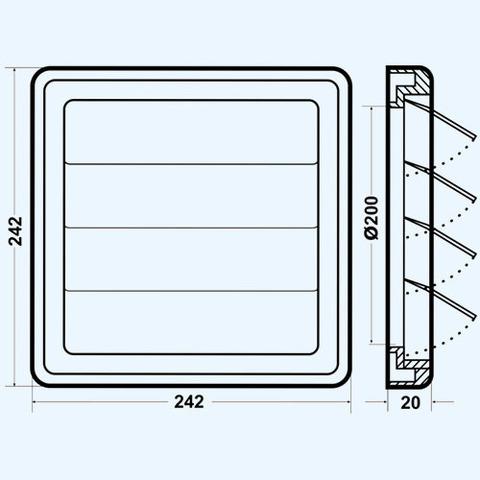 Решетка вытяжная с гравитационными жалюзи (242х242, D200) Эра 2424К20Ф Серая