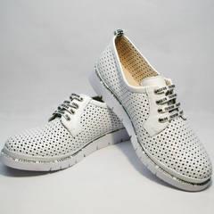 Летние туфли женские кожаные спортивные GUERO G177-63 White