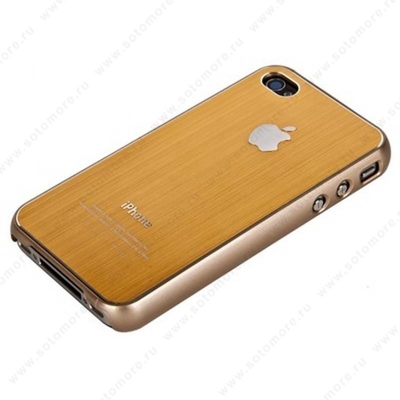 Накладка SGP металлическая для iPhone 4s/ 4 золотая с серой окантовкой