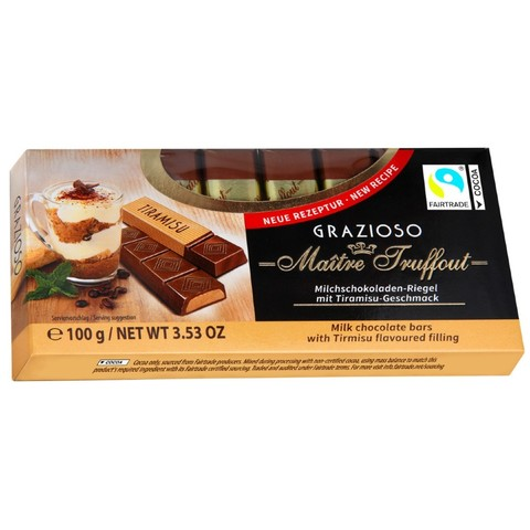 "Молочный шоколад с начинкой ""Тирамису"" GRAZIOZO Maitre Truffout, 100г"