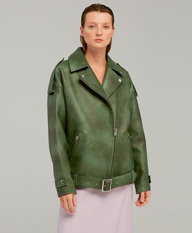 Кожаная куртка GREEN SHABBY OVERSIZE