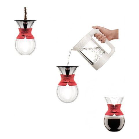 Кофейник кемекс Bodum Pour Over с многоразовым сито-фильтром, 1 л, цвет белый