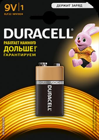 Батарейки Duracell 6LR61, 9V (1/20) BL