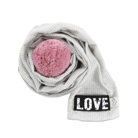 453 PA - Шарфик для собак серый с розовым помпоном