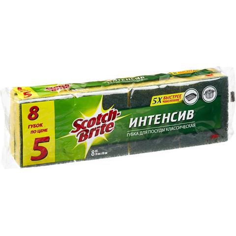 Губки для мытья посуды 3M Scotch-Brite Интенсив поролоновые 70х90х27 мм 8 штук в упаковке