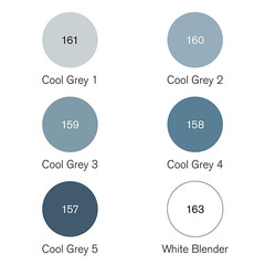 Набор маркеров Pigment Marker 6шт оттенки серый холодный