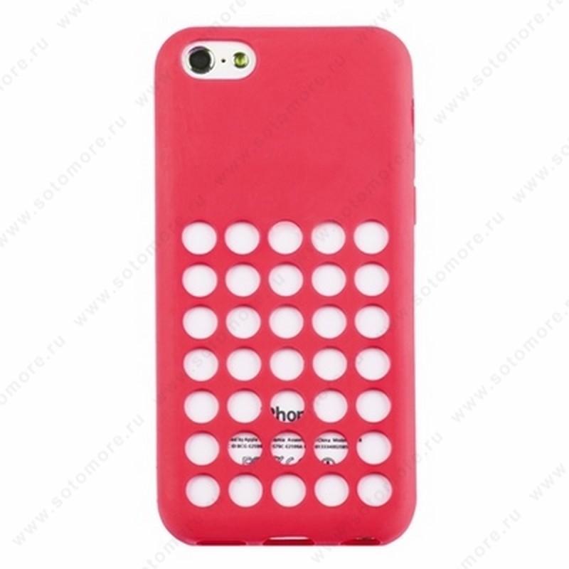 Накладка силиконовый для Apple iPhone 5C с перфорацией розовый