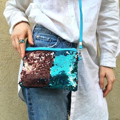 Клатч-сумочка на молнии детская с пайетками меняющая цвет Голубой-Розовый