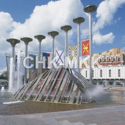 Фонтанный комплекс на площади Славы в Москве. Гранит Калгувара (фото №1)