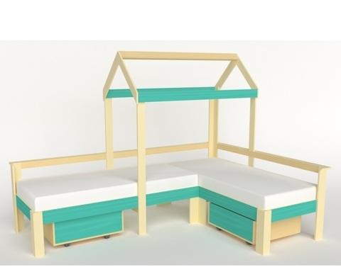 Кровать-домик АВАРА-1 с ящиками левая