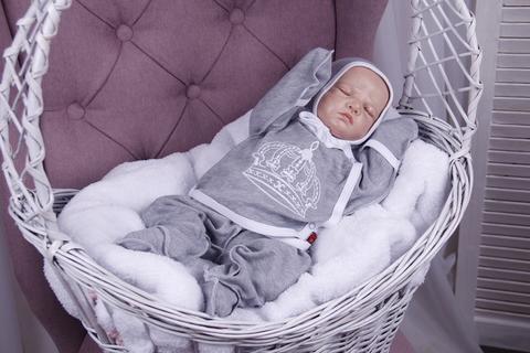 Комплект для новорожденного 3 предмета Queen (серый)