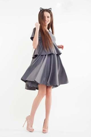 Короткое замшевое платье, серое 1