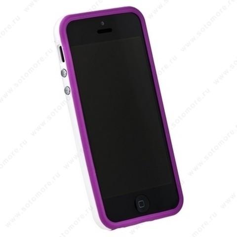 Бампер для iPhone SE/ 5s/ 5C/ 5 фиолетовый с белой полосой