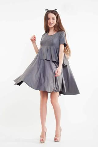 Короткое замшевое платье, серое 3