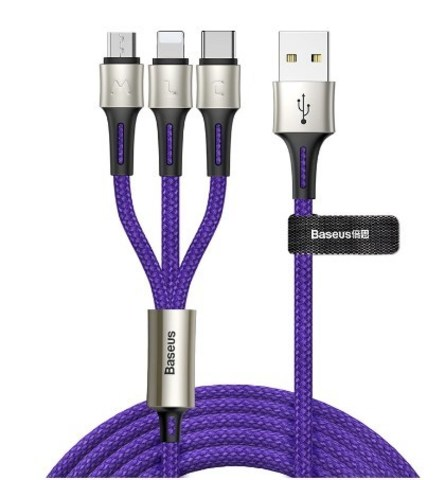 Кабель Baseus caring touch selection 1-in-3 USB cable Blue