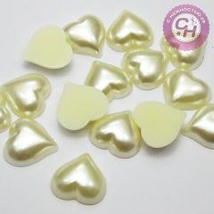 Половинки бусин под жемчуг Сердце крупное 1,5 см, 20 шт.