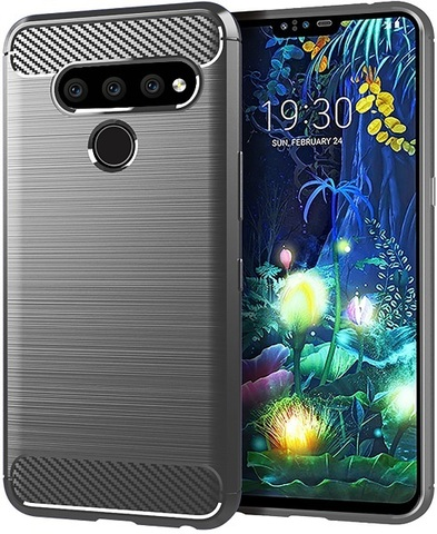 Чехол LG V50 ThinQ цвет Gray (серый), серия Carbon, Caseport