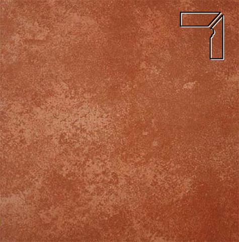 Interbau - Alpen, Kastanie/Красная глина, цвет 059 - Клинкерный плинтус ступени правый, 3 части