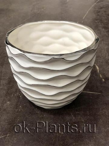 Ваза Керамика Белая/Серебро