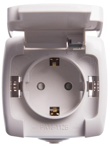 Розетка электрическая с заземлением со шторками IP44 - 16 А 250B. Цвет Белый. Schneider Electric(Шнайдер электрик). Rondo(Рондо). RA16-112B-BI