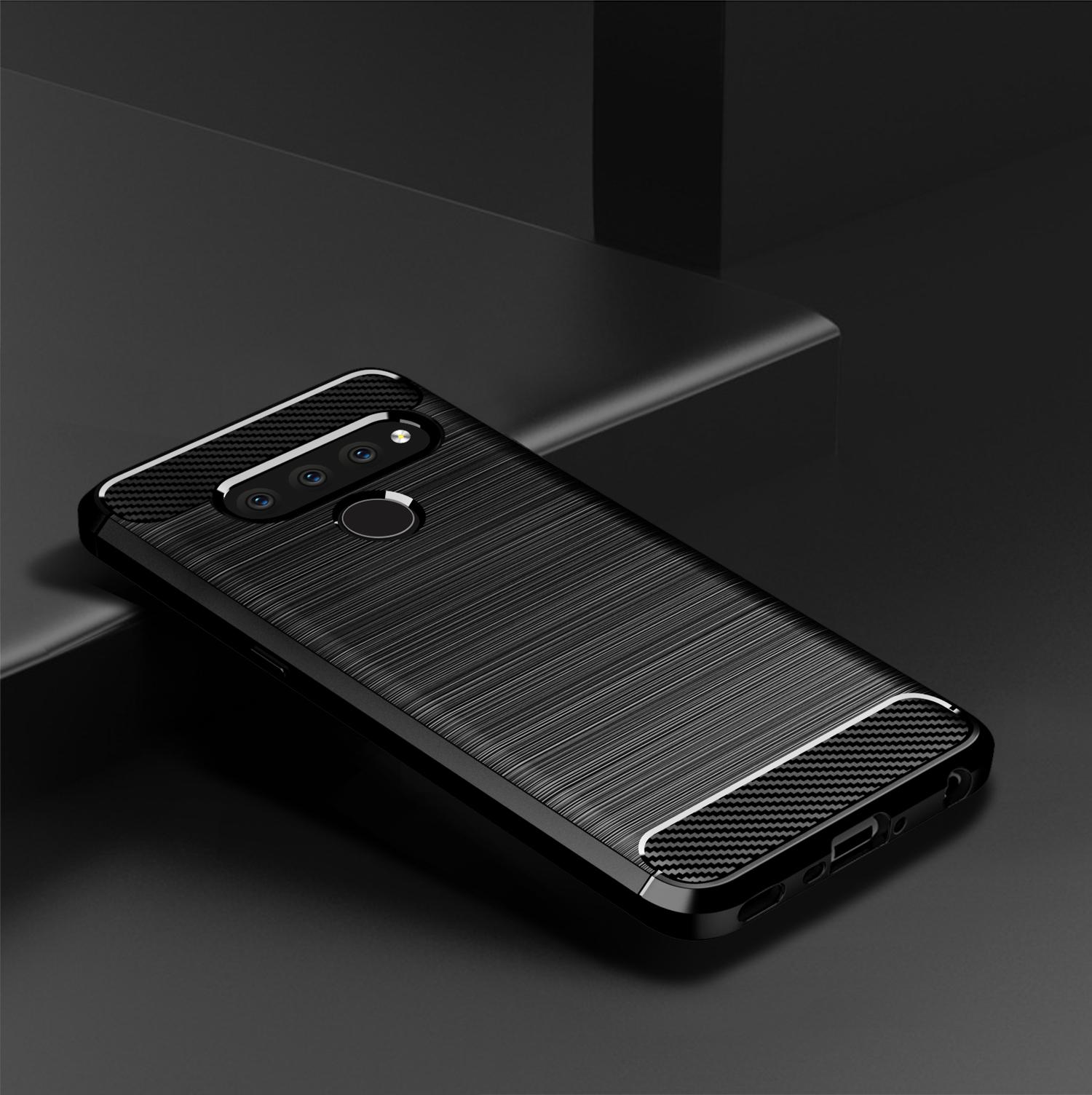Чехол LG V50 ThinQ цвет Gray (серый), серия Carbon, Caseport