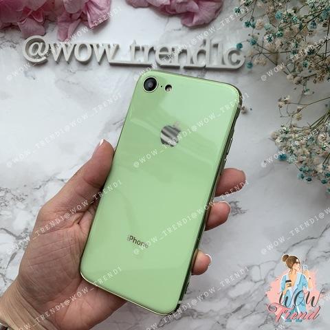 Чехол iPhone 7/8 Glass Silicone Case Logo /mint gum/