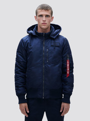 Куртка Alpha Industries MA-1 Hooded Rib Rep. Blue (Синий)