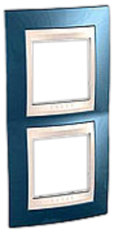 Рамка на 2 поста. Цвет вертикальная Голубой лёд/белый. Schneider electric Unica Хамелеон. MGU6.004V.854