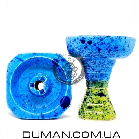 Чаша GrynBowls для кальяна |Hexahedron Yellow-Blue