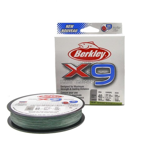 Плетеная леска Berkley X9 150м Темно-зеленая 0,25мм 18,2кг